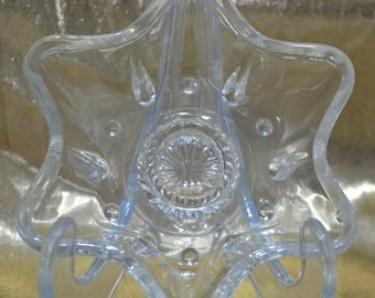 Vintge Glass Star Candle Holders - set of 2