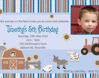 Farmyard Animal Birthday Invitations - You Print