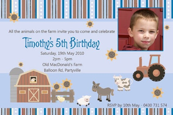 Farmyard Animal Birthday Invitations - You Print