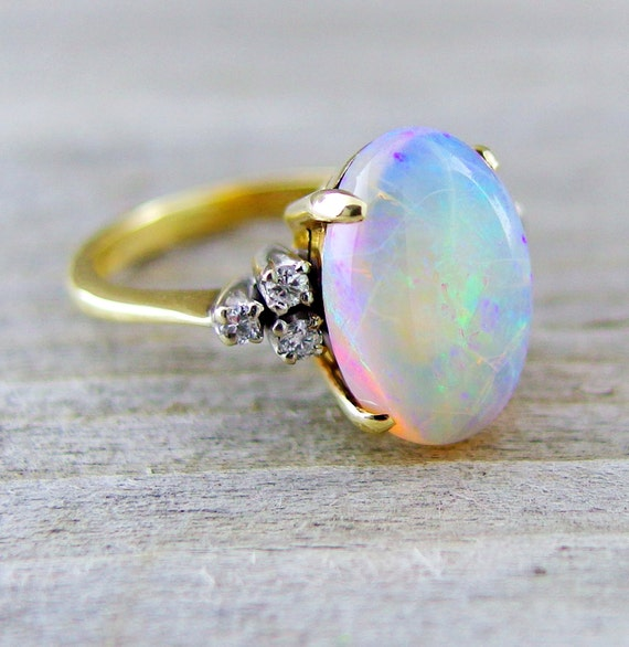 Vintage 3 12 Carat Opal And Diamond Engagement By Baffy21