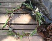 Woodland Floral Crown - Lichen Leaf Head Wreath -  Lichen, Willow Eucalyptus & Birch