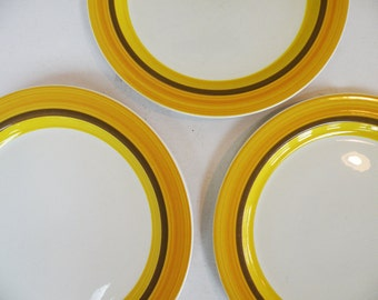 Set of Six Vintage Dinner Plates Noritake Calypso Pattern / 70s Hippie Modern Kitchen Dishes Serving