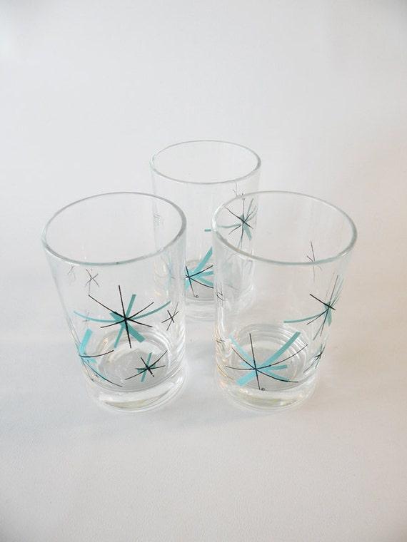 Three Vintage Juice Glasses Starburst Atomic Turquoise And