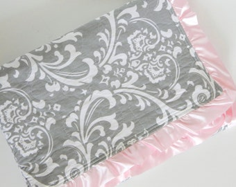 Gray and Pink Minky Quilted Damask Blanket