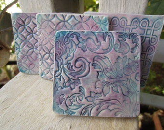 Four Blue and Purple Ceramic Square Patterned Coasters Tiles Supplies