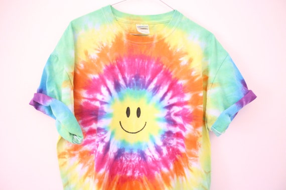 90s Acid Tie Dye Smiley Face Festival Shirt Tee Dress