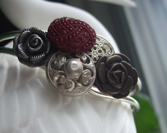 Mixed charm flowers and buttons, cuff bracelet