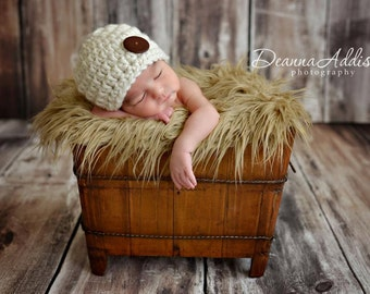 Newborn Boy Chunky Beanie Hat Cap - Newborn Boys - Photography Prop - Knit Knitted Crochet