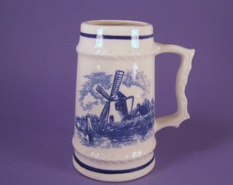 Vintage Delft Stein Mug, Miniature Collectible  Made in Japan, Blue and White