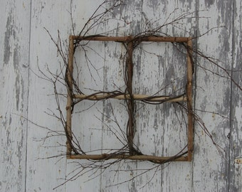 Handmade Decorative Natural Birch WINDOW FRAME Wreath Picture frame