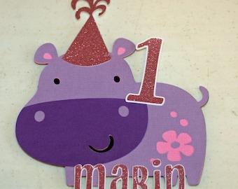 Glittery Purple Hippo Smash Cake Topper ,  Hippo Birthday,  Hippo Party, First Birthday, Hippo Baby Shower