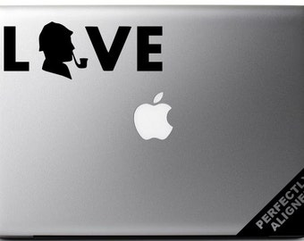 Vinyl Decal - Sherlock Holmes LOVE Decal for Macbook, Laptops, Cars, etc...