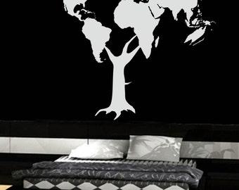 World Map Tree - uBer Decals Wall Decal Vinyl Decor Art Sticker Removable Mural Modern A268