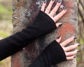Black List: Black Angora blend arm/wrist warmers, felted, fingerless gloves, up-cycled, handmade