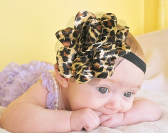 Wild Leopard Print Flower Puff Headband - Photo Prop - Newborn Baby Hairbow - Little Girls Hair Bow - Brown and Black Animal Hair Bow