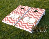 Chevron Monogram - Couture Cornhole / Classy Corntoss / Bag Toss Wedding Game