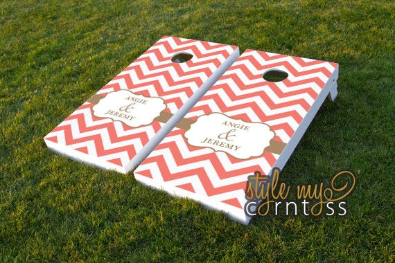 Chevron Monogram - Couture Cornhole / Classy Corntoss / Bag Toss Wedding Game
