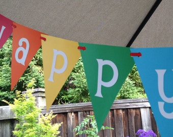 Happy Birthday Rainbow Party Celebration Banner Bunting Garland Pennant Can Customize Color and  Add Text