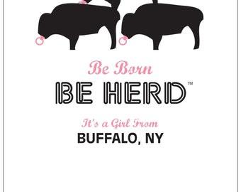 Be Herd Buffalo It's A Girl Card