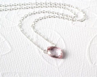 Gemstone Choker Necklace, Mystic Pink Quartz Faceted Leaf Shape Briolette, Sterling Silver Chain and Wire. Dainty, Everyday. Gift. N153.
