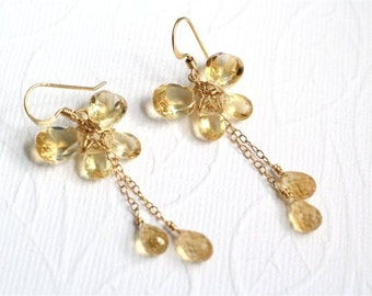 November Birthstone. Gemstone Butterfly Earrings, Citrine Pear Cut Beads and Drops, Gold-filled Wire Wrapped and Earwire. E063b.