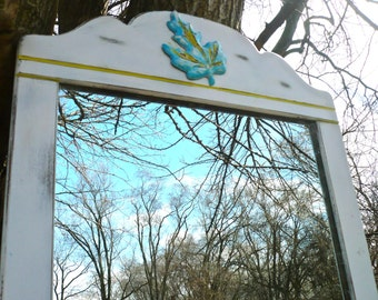 Mirror, Appliqué, Wall Mirror, Fall, Autumn, Rustic, Maple Leaf Mirror, Blue White Yellow, Mantle Mirror, Wooden Mirror, Painted Mirror