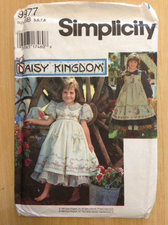 Simplicity 90s Sewing Pattern 9977 Daisy Kingdom Girls Dress and Pinafore Size 5-8 Sale