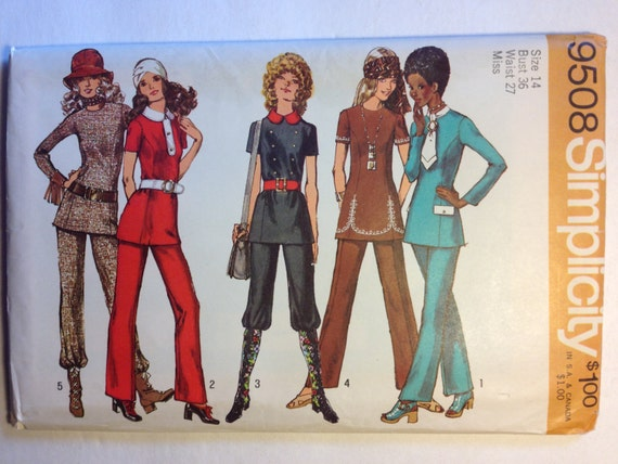 Simplicity 70s Sewing Pattern 9508 Misses Tunic and Pants Size 14 UNCUT Sale