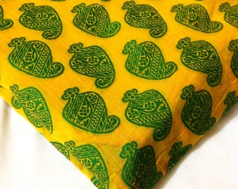Indian Fabric - Yellow and Spring Green Paisley Weaving - Chanderi Silk Fabric for Dresses, Curtains, Decoration
