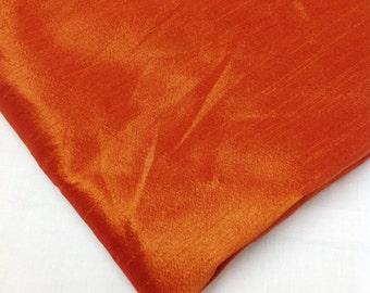Dark Orange Poly Silk Blend - Semi Dupioni - Dupioni Silk Blend Fabric by Yard