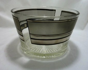 Mid Century Silver and Black Glass Striped Ice Bucket