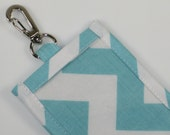 Colorful Chevron  Cotton Clip On ID Holder with Hidden Cash Stash and Optional Lanyard