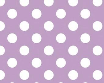 Lavender Polka Dot Cotton Fabric, Medium Lavender Dot Cotton Fabric by Riley Blake