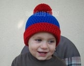 Character Baby Hat- Baby Boy Hat Red and Blue Pom Pom Beanie