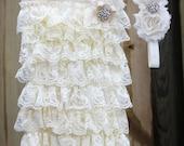 Vintage Cream Ivory Double Shabby Chic Rhinestone Crystal Headband and Romper set Baby Shower gift Weddings Photo prop