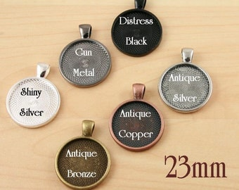 100 Blank  23mm.  7/8 inch Pendant Trays.  Round . Shiny Silver, Antique Bronze and Antique Copper Bezels Settings Photos Charms