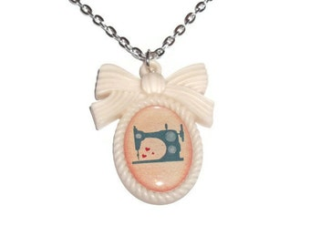 Sewing Machine Necklace, Cream Cameo Crafty Necklace