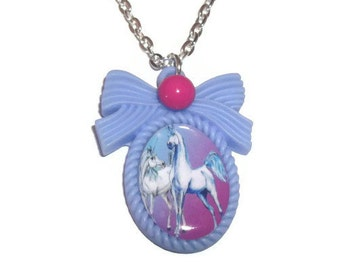 Unicorn Cameo Necklace, Cute Kawaii Blue and Pink Fantasy Necklace