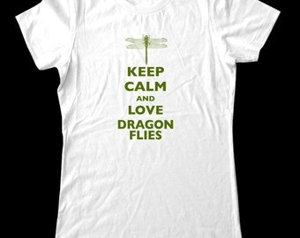 Keep Calm and Love Dragonflies T-Shirt - Soft Cotton T Shirts for Women, Men/Unisex, Kids