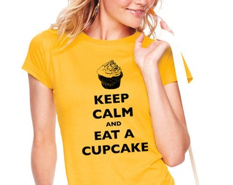 Keep Calm and Eat A Cupcake T-Shirt - Soft Cotton T Shirts for Women, Men/Unisex, Kids