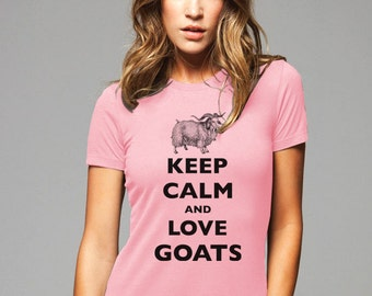 Keep Calm and Love Goats T-Shirt - Soft Cotton T Shirts for Women, Men/Unisex, Kids