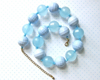 Blue Bead Necklace Round Unique Beads Gold tone Clasp Multi Fashion Jewellery Gift Idea for Woman