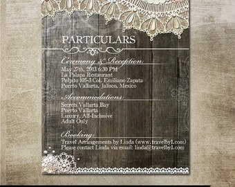 Rustic Lace Wedding Directions Information Particulars Sheet for your guests, holds wedding info with burlap, lace and vintage elements