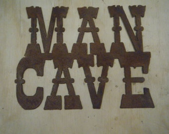 FREE SHIPPING Rusted Rustic Metal Man Cave Sign
