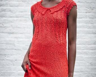 summer orange dress in cotton and viscose