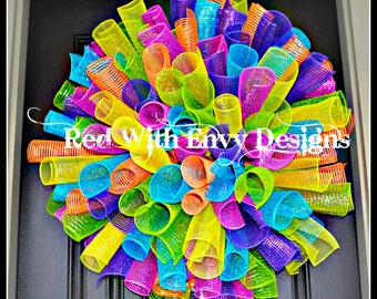 Birthday, Birthday Wreath, Birthday Decor, Birthday Decoration, Summer Wreath, Summer, Spring Wreath, Wreath, Deco Mesh Wreath