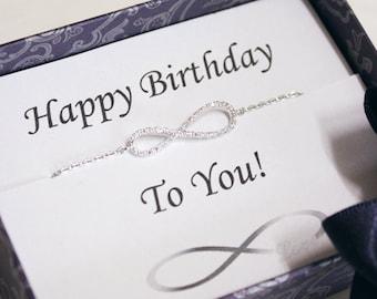 Infinity bracelet with birthday card, lover, best friend, family, Bridesmaid gifts, wedding bracelet - ER2001