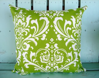 """18"""" X 18"""" green and white ozborne print- decorative pillow cover-gifts under 40-throw pillow"""