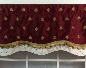 Majestic bee layered shaped valance in crimson, black or ivory
