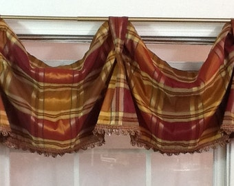 Red,rust plaid swagged valance